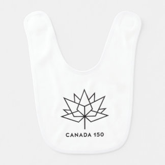 Babador Infantil Logotipo do oficial de Canadá 150 - esboço preto