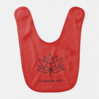 Babador Infantil Logotipo do oficial de Canadá 150 - vermelho e