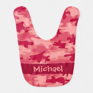 Babador Infantil Nome vermelho da camuflagem de Camo personalizado