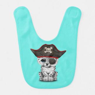 Babador Infantil O leopardo de neve bonito Cub do bebê pirateia