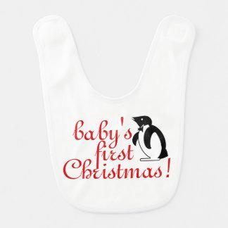 Babador Infantil O primeiro Natal do bebê - arte do pinguim