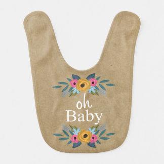 Babador Infantil Oh bebê! Grinalda floral rústica de Kraft