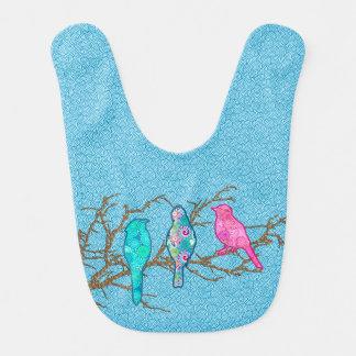 Babador Infantil Pássaros em um ramo, azul-céu do Applique multi