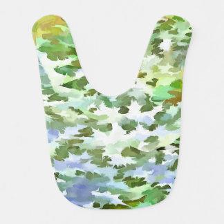 Babador Infantil Pop art abstrato da folha no verde branco e no pó
