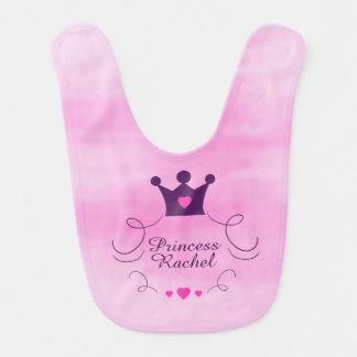 Babador Infantil Princesa cor-de-rosa Coroa Tiara Direitos Coração
