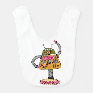 Babador Infantil Robô de Frankie, alaranjado no branco