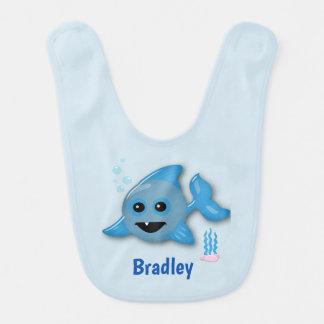 Babador Infantil Tubarão do bebê com nome