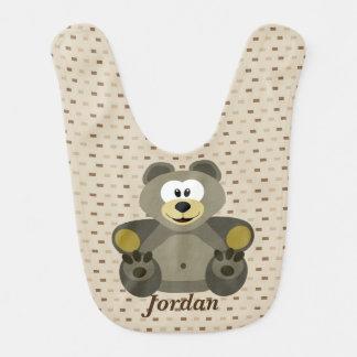 Babador Infantil Urso de ursinho bonito do Brown do miúdo