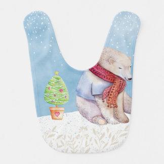 Babador Infantil Urso polar e árvore de Natal na neve