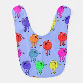 Babador Infantil Vaca bonito dos desenhos animados do vetor