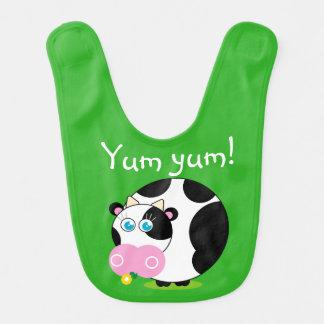 Babador Infantil Vaca preto e branco dos desenhos animados bonitos