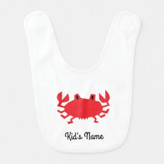 Babador Infantil Vermelho do caranguejo do mar