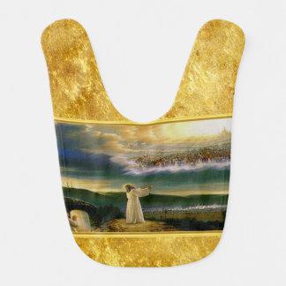 Babador Jesus no design da textura do ouro da porta do céu