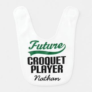 Babador personalizado do bebê do Croquet jogador
