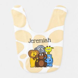 Babador personalizado do bebê dos animais do