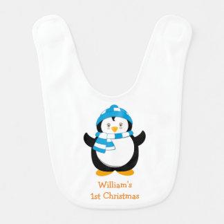 Babador personalizado do pinguim, Natal do bebê o
