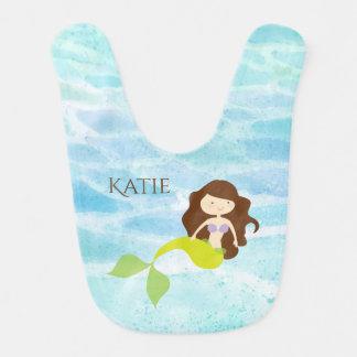 Babador personalizado sereia do bebê dos desenhos
