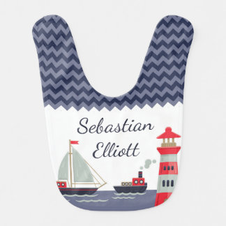 Babador Presente personalizado do veleiro bebé náutico