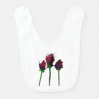 Babador roxo bonito do bebê do design da flor