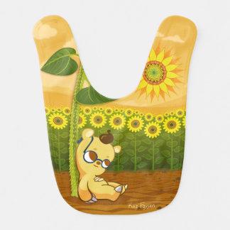 Babador Urso bonito dos desenhos animados com girassóis