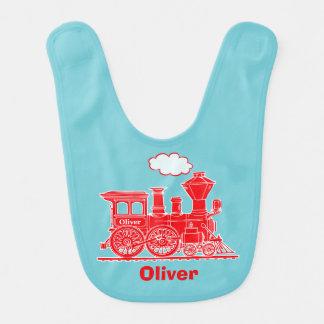 Babador vermelho do bebê da arte gráfica do trem
