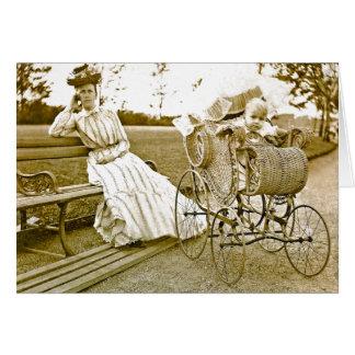 Baby-sitter do vintage e bebê Notecard Cartão Comemorativo