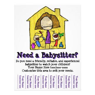 Babysitting. Baby-sitter. Puericultura. Modelo Panfletos