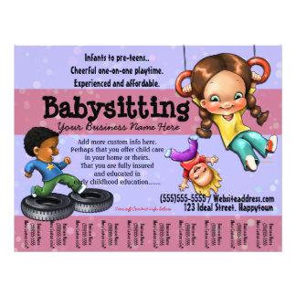 Babysitting. Modelo customizável do centro de dia Panfleto Personalizados