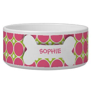 Bacia cor-de-rosa personalizada dos alimentos para tijela para água para cachorros