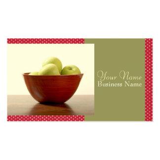 Bacia de cartões de visitas das maçãs