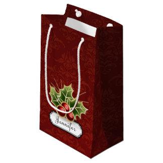 Baga de brilho do azevinho na cor damasco com nome sacola para presentes pequena
