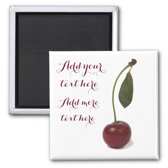 Baga vermelha da cereja e seu texto imã