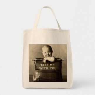 Bagagem da criança do retrato da mala de viagem do sacola tote de mercado