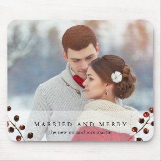 Bagas do inverno casadas e foto alegre Mousepad