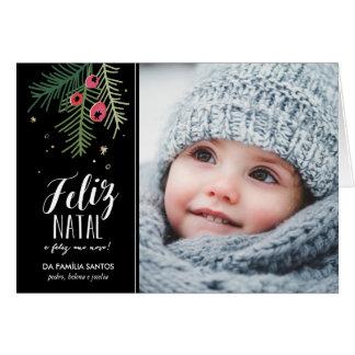 Bagas Vermelhas | Feliz natal Cartão Comemorativo