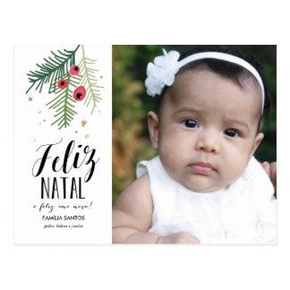 Bagas Vermelhas | Feliz | natal Cartão postal