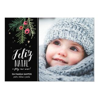 Bagas Vermelhas | Feliz natal Convite 12.7 X 17.78cm
