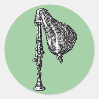 Bagpipes antigos adesivo redondo