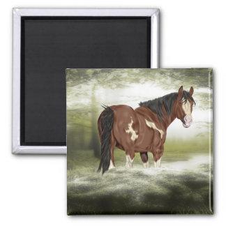 Baía e cavalo da pintura de Overo do respingo do Ímã Quadrado