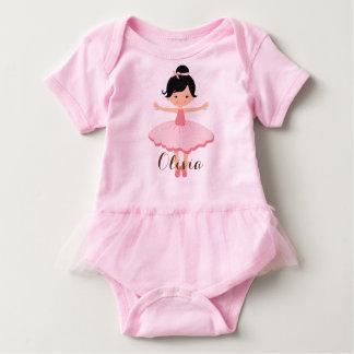 Bailarina asiática personalizada bonito body para bebê