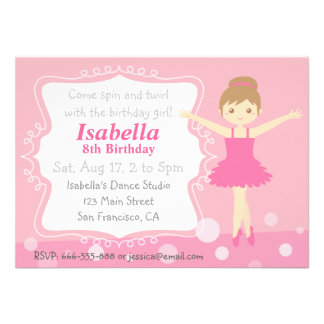 Bailarina bonito festa de aniversário cor-de-rosa convite personalizado