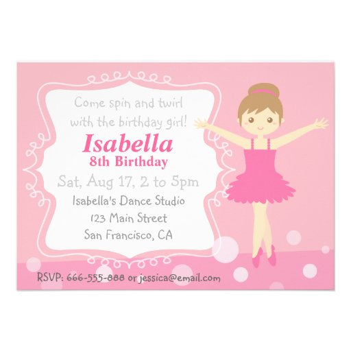 Bailarina bonito, festa de aniversário cor-de-rosa convite personalizado