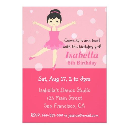 Bailarina bonito, festa de aniversário cor-de-rosa convite personalizados