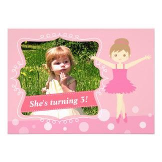 Bailarina bonito festa de aniversário cor-de-rosa convites personalizado
