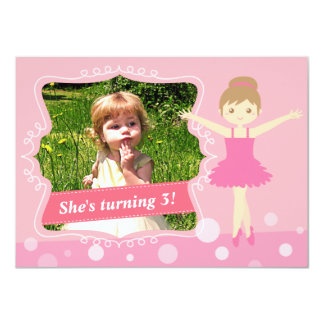 Bailarina bonito, festa de aniversário cor-de-rosa convites personalizado