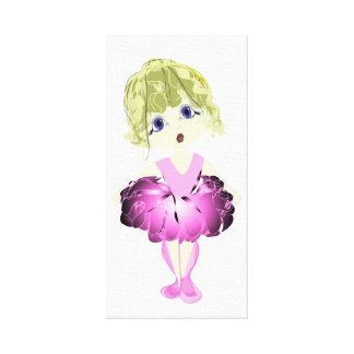 Bailarina bonito no impressão cor-de-rosa das canv impressão em tela