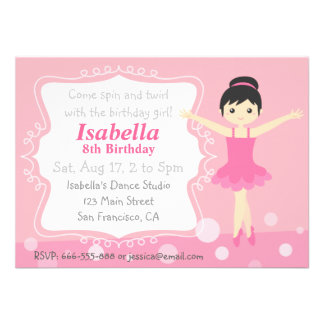 Bailarina bonito no rosa festa de aniversário da convites personalizados