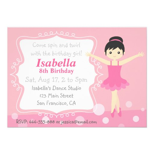 Bailarina bonito no rosa, festa de aniversário da  convites personalizados