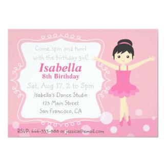 Bailarina bonito no rosa, festa de aniversário da convite 11.30 x 15.87cm