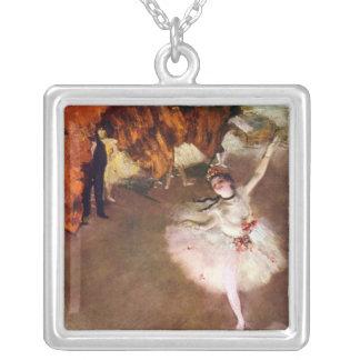 Bailarina de Prima por Edgar Degas, arte do balé Colar Com Pendente Quadrado